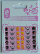 GGSELL GL Stereoscopic 3D nail art nail decals nail stickers black and white Ox horn and yellow skulls