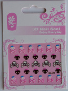GGSELL GL Stereoscopic 3D nail art nail decals nail stickers black and white skull