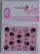 GGSELL GL Stereoscopic 3D nail art nail decals nail stickers black and white skull with pink roses