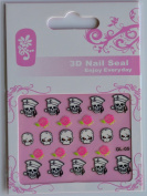 GGSELL GL Stereoscopic 3D nail art nail decals nail stickers skull heads and pink roses
