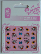 GGSELL GL Stereoscopic 3D nail art nail decals nail stickers white skull and bomb and blue bone