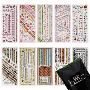 BMC 10 Sheet Nail Art Water Transfer Stickers Temporary Liquid Nail Tattoos Decoration Effects Nail Hydroplaning Water Decals