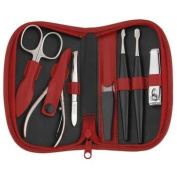 Quality German Made 7 Piece Red Leather Manicure Set