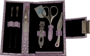 Ringlock Stainless Steel 6 Piece Manicure Set in Stylish Lilac Leather Case