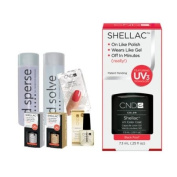 Cnd Shellac Starter Kit B - Top & Base 7.3Ml + Black Pool - Uv Soak Off Gel Polish