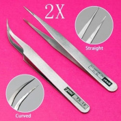 WMA 2 X Stainless Steel Rhinestones Gems Eyelash Nippers Tweezers Nail Art Acrylic Gel Picking Tool