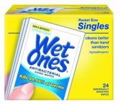 Wet Ones Singles Antibacterial Hands & Face Wipes - Citrus