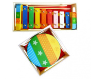 Childrens Wooden Musical Instruments Set - Xylophone and Tambourine - presented in separate wooden boxes