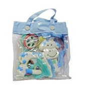 Three Baby Teether/ Rattles In Gift Bag For Boy