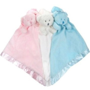 Cute satin & fleece Teddy Comforters in White, Pink and Blue by Softtouch