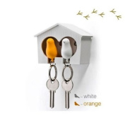 DUO Wood House Sparrow Bird Key Ring + Key Holder + Whistle - White/Yellow Bird