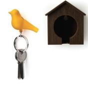 Wood House Sparrow Bird Key Ring + Key Holder + Whistle - Brown House + Yellow Bird