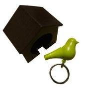 Wood House Sparrow Bird Key Ring + Key Holder + Whistle - Brown House + Green Bird