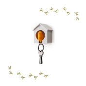 Wood House Sparrow Bird Key Ring + Key Holder + Whistle - White House + Yellow Bird