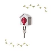 Wood House Sparrow Bird Key Ring + Key Holder + Whistle - White House + Pink Bird