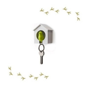 Wood House Sparrow Bird Key Ring + Key Holder + Whistle - White House + Green Bird
