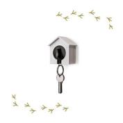Wood House Sparrow Bird Key Ring + Key Holder + Whistle - White House + Black Bird