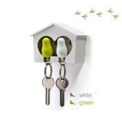 DUO Wood House Sparrow Bird Key Ring + Key Holder + Whistle - White/Green Bird