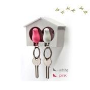 DUO Wood House Sparrow Bird Key Ring + Key Holder + Whistle - White/Pink Bird