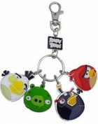 Commonwealth Toys Angry Birds Metal Keychain Style 2 White Bird, Pig, Black Bird Red Bird