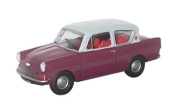 oxford anglia car maroon with grey roof 1.76 railway scale diecast model