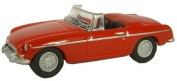 Oxford MGB in Tartan Red 1:76 railway scale diecast model