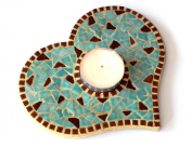 Mosaic Craft Kit for a Tea Light Base, Turquoise blue