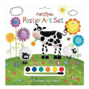 Marzipan Poster Art Set - 4 Posters & Paints - Cow & Sheep Design