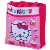 Hello Kitty - Cupcake Shopping School Bag with Super Cute Hello Kitty and Cupcake Dangler Press Stud Fastening and Inside Compartment - Shopper