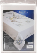 Forget Me Not Stamped Oblong Tablecloth For Embroidery-147cm X264cm