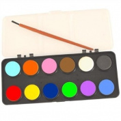 Kids Watercolour Paint Set 12 Colours With Brush Art & Craft