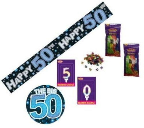 50th birthday blue party pack banner balloons confetti for 50th birthday decoration packs