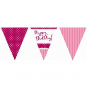 Perfectly Pink Party Happy Birthday Paper Flag Bunting - 3.7m