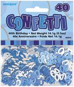 Blue Glitz 40 Table Confetti - 40th birthday/40th anniversary - blue/silver - 14.1g bag