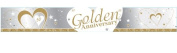 SILVER, WHITE & GOLD 50TH WEDDING GOLDEN ANNIVERSARY BANNER - 2.7m