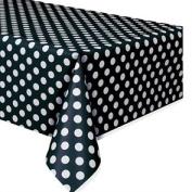 Plastic Tablecover 140cm x 270cm -Midnight Black Decorative Dots