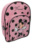 Disney Minnie Mouse Pink Colour with Black Polka Dots School Bag With Front Pocket Rucksack Backpack Book Bag