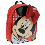 Girls Kids Genuine Red Disney Minnie Micky Mouse Ribbon Bow School Backpack Lunch Bag