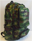 Boys Mens Green Army Camo Rucksack School College Backpack Travel Bag -