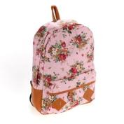 Pink Canvas Rucksack Vintage Flower Backpack School Campus Book Bag