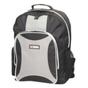 Backpack Rucksack with Large Front Pocket & 2 Side Pockets in Black with Light Grey Detail. Top Carry Handle & Adjustable Shoulder Straps. Great For Gym, College, School, Outings & Work.