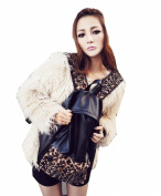 Zehui Women's Punk Style Rivet Leopard Backpack School Bags Rucksack Faux Leather Bag Black