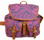 Serena Aztec Print Rucksack / Backpack / School Bag in Pink Purple -- SwankySwans