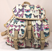 Roche Butterfly Print Rucksack / Backpack / School Bag in Beige -- SWANKYSWANS