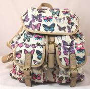 Roche Butterfly Print Rucksack / Backpack / School Bag in Beige -- SWANKYSWANS