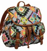 Kelsey Multi Aztec Print Rucksack / Backpack / School Bag in Grey Base -- SWANKYSWANS®