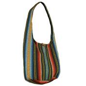 BenThai Products Hand Woven Cotton Bag Purse Hobo Hippie Sling Crossbody Messenger Travel School Bag Lined Handmade Ikat A21