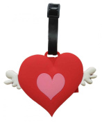 Rubber Luggage School Bag Tag Winged Heart Design