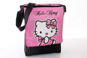 HELLO KITTY NEW STYLE BLACK LACE & PINK MESSENGER SCHOOL BAG/MUSIC BAG/TRAVEL BAG