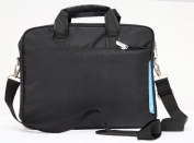 Laptop notebook slim shoulder bag messenger lightweight carry case Apple Macbook 33cm 34cm travel school business-Black